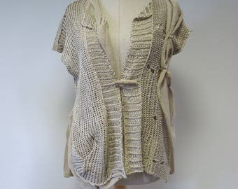 Boho artsy taupe knitted vest, M size. Made of pure linen.