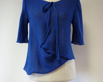Casual cobalt linen blouse, L size. Only one sample.