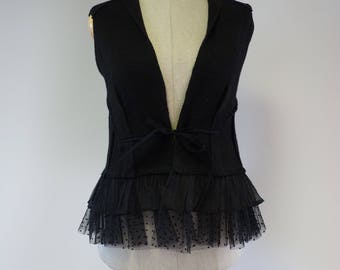 Artsy fashion black linen vest with tulle, M size. Only one sample!