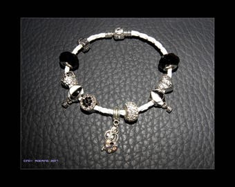 European charm bracelet with 9 different Pandora and Heart Beads Beads size is XL (19cm)