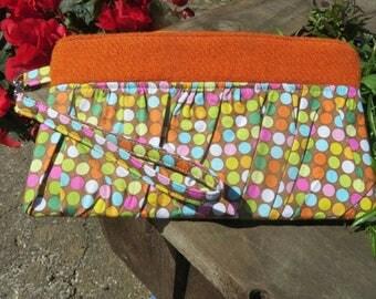 Harris Tweed Ruffled Wristlet, Pouch, Clutch,Bag, polka dots, orange Harris tweed,