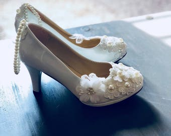 Pearl Greek--Bridal Wedding shoes white pearl shoes