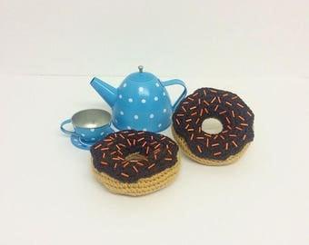 Play Food Crochet Chocolate Donut, Gift, Amigurumi