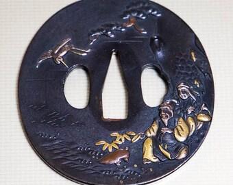 """TSUBA Antique Japanese sword guard """"Elderly couple """" Edo era samurai Tsuba"""