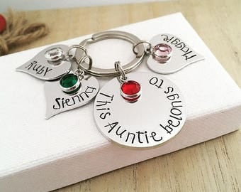 Auntie Gift, Personalised Aunty Keyring, This Auntie Belongs To, Personalized Auntie Keychain, From Nieces, From Nephews, Sister Gift, Aunt