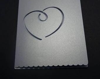 wedding invitation - theme heart iridescent Grey Ribbon