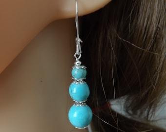 Turquoise drop earrings with kidney wires, blue earrings, turquoise jewellery, boho jewellery, gypsy earrings, festival jewellery, summer