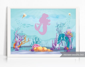 Mermaid Backdrop - Printable - Instant Download