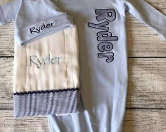 Baby gown, hat & burp cloth set