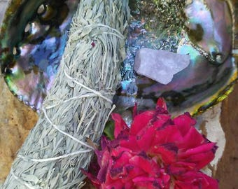 """Shimmering Love Smudging Kit with Gigantic 7"""" abalone shell, wooden tripod stand and Rose quartz stone, 9""""  smudge stick  Valentine's gift"""