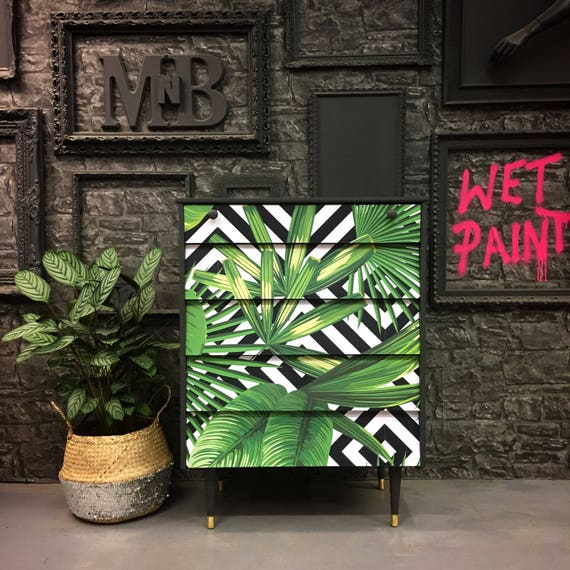 Vintage geometric palms chest of drawers
