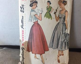 Vintage 1940's One piece sun Dress w bolero - full skirt - Simplicity 2861 sewing pattern misses women's size 14
