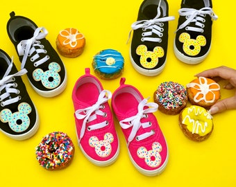 Mickey, hidden mickey, disney, Donut shoes, doughnut, handcrafted, strawberry frosted, kids shoes, toddler shoes, colorful, polka-dot