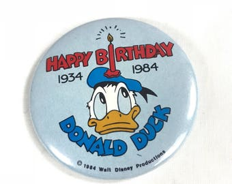Happy Birthday Donald Duck 1934 - 1984 Pin from Walt Disney Productions