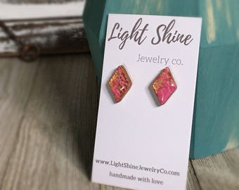 Hand Sculpted and Painted Clay and Resin Pink, Purple and Gold Stud Earrings