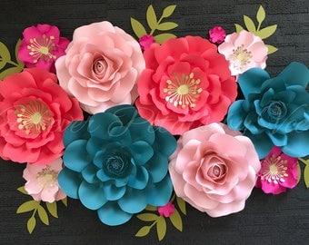 Set of 10 Paper Flowers Nursery Customize Your Colors