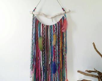 Bohemian Decor, Boho Garland Wall Hanging, Wall Tapestry, Yarn Mobile, Boho dreamcatcher, Gypsy decor, Unusual wall decor