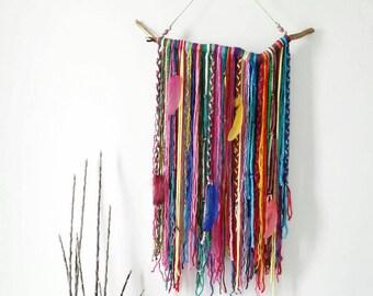 Bohemian Decor Wall Hanging, Wall Tapestry, Yarn Mobile, Boho Gypsy decor, Unusual wall decor, wood decoration