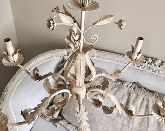 Vintage Shabby Chic Cream Iron Floral Chandelier