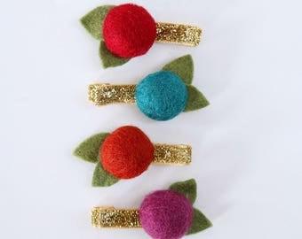 Gemtones Felt Ball Flower Clip Set // Metallic Gold Glitter Clips // Modern Hair Clip // Set of 4