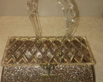 Vintage Florida CHARLES KAHN MIAM Confetti Glitter Lucite Purse Evening Hand Bag
