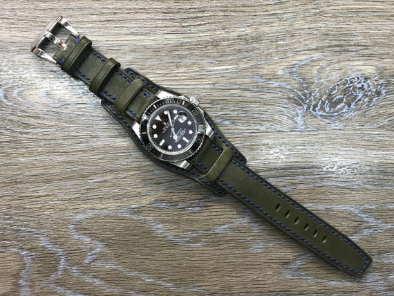 Full Bund watch band, Leather cuff band, Army Green, Full bund watch strap, Cuff Band, Cuff Strap for Rolex, IWC in 19mm/20mm lug, Buckle