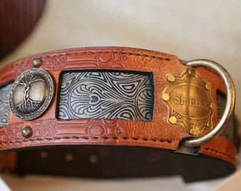 Big dog collar | SHEILA | Personalized dog collar | Vintage nameplate | Hand printed leather dog collar | Mastiff collar | Hand stitched