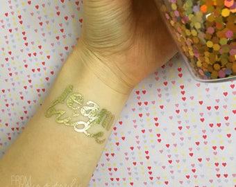 Gold foil temporary tattoo: team bride (pk-5)