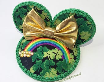 READY TO SHIP- Saint Patrick's St Paddy's Day Shamrock Rainbow Inspired Ears Fascinator