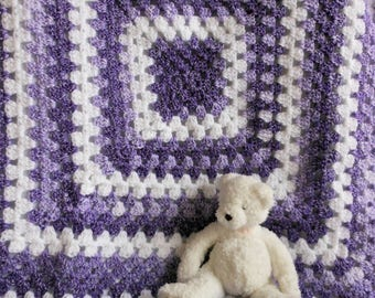 "crochet little girl blanket of purple lavender white, new baby soft cuddly afghan, gifts to new mom, 30"" x 30"" stroller/car seat, free ship"