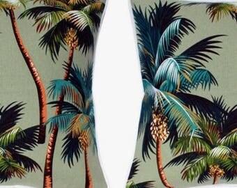 Pair of Tropical Cushion Covers - Palm Tree Green Aloe, Monstera Leaf Island Fabric Polynesian Hawaiian