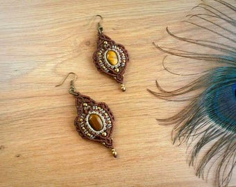 Tiger Eye macrame earrings. Bohemian jewelry. Boho chic. Gemstone earrings. Healing Jewelry. Handcrafted Natural Beauty. Unique design.