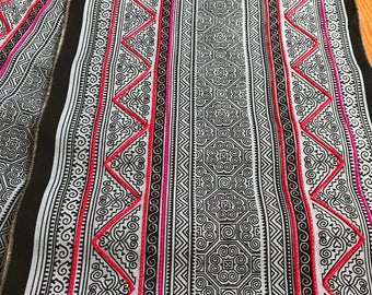 2.5 Yards Hmong Ethnic Fabric Bohemian Style Handprinted Thai Batik Textile 406