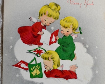 Vintage Christmas Card - Angels Reading Christmas Cards - Used
