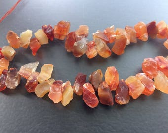 Full Strand Natural Carnelian Agate Rough Fancy Drop Beads