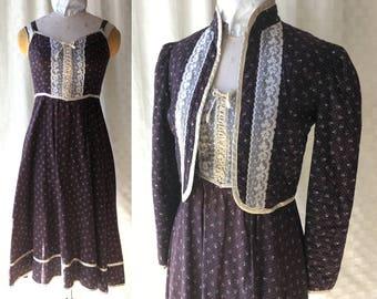 1970s Gunne Sax Prairie Sun Dress and Jacket, Extra Small