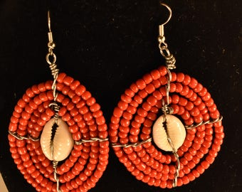 African Beaded Earring with Cowrie Shell. Czech Glass Seed