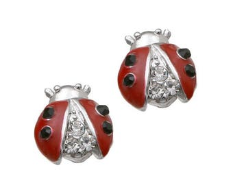Lady Bug Rhinestone Post Earrings