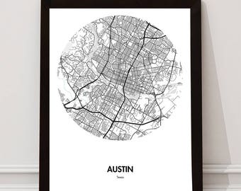 Austin Map Poster - 18 by 24 inch City Map Print - Gift Ideas for Travelers and Travel Lovers- Austin Texas Black and White Map - Home Decor