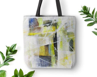 Abstract art canvas bag, Shopper tote, Picnic Tote, Canvas tote bag, Hippie bag, Gift for her, Polyester fabric, Arty unique design. MS038