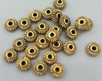 CROWN HEISHI Beads by TierraCast Pewter, 5mm, Antique Gold Spacer - 20 Pieces