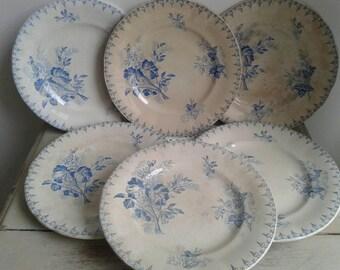 Set of 6 gorgeous Art Nouveau, French antique, blue side plates, Sarreguemines 1900.
