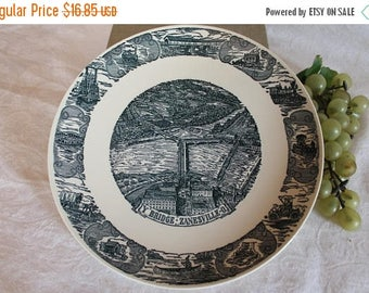"SALE Zanesville, Ohio Historical Y Bridge 10"" Collector Plate  - Kettlesprings Kilns"