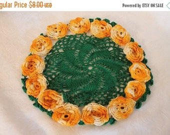 """SALE Vintage Crocheted 9"""" Doile in Green with Orange and White Rosettes"""