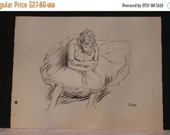"""SALE Vintage Charcoal Sketch Lithograph by Degas - 20"""" by 26"""""""