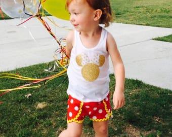 Minnie Mouse Red White Polka Dot Yellow trim Inspired Coachella tulip petal Shorts Toddler Infant Girls 0-3 mths to 8 Mickey Disney Costume
