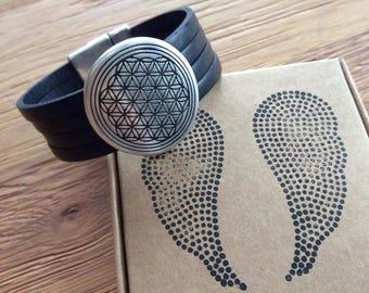 Flower of life leather bracelet