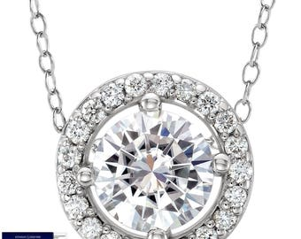 SALE!! 0.75 Carat Round Moissanite and Diamonds Pendant in 14K Gold (with Charles & Colvard warranty)