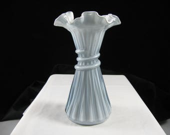 Vintage Fenton Art Glass Wheat Vase Federal Stiegel Blue  Overlay Cased