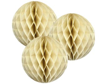 Just Artifacts Tissue Paper Honeycomb Ball (Set of 3, Ivory)